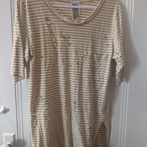 Free people distressed yellow stripped tee Large